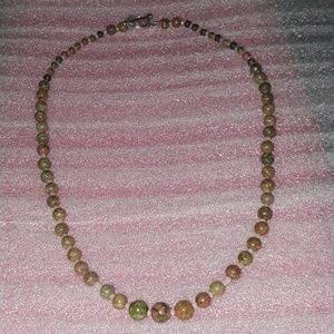 "Jewelry - Unakite with peach seed beads, New 20"" long,toggle"